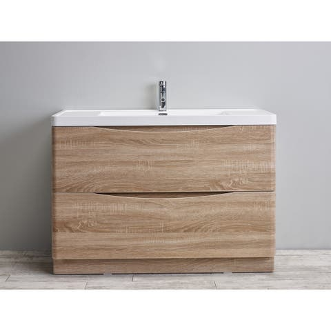 Eviva Smile 48 inch White Oak Freestanding Modern Bathroom Vanity with White Integrated Acrylic Top