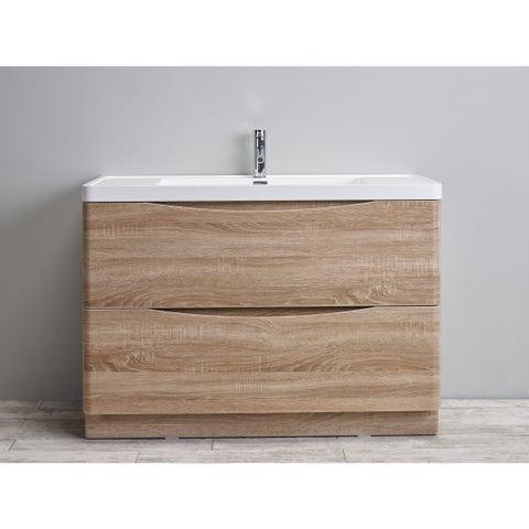 Eviva Smile Integrated White Acrylic Sink White Oak Modern 48-inch Bathroom Vanity