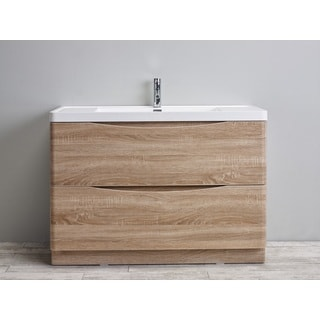 Eviva Smile Integrated White Acrylic Sink White Oak Modern 48-inch Bathroom Vanity