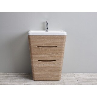 Eviva Victoria White Integrated Acrylic Sink White Oak Modern 25-inch Bathroom Vanity