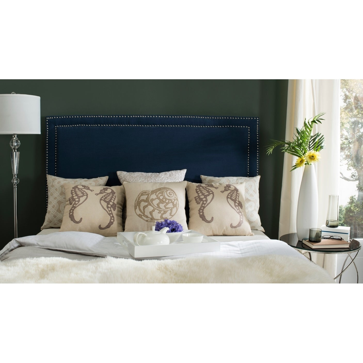 Safavieh Cory Navy Blue Upholstered Headboard Silver Nailhead Queen Overstock 10988909