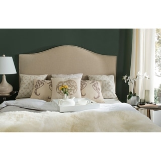 Link to Safavieh Connie Hemp Upholstered Camelback Headboard - Silver Nailhead (Queen) Similar Items in Bedroom Furniture