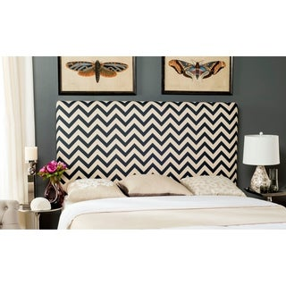 Safavieh Ziggy Navy/White Upholstered Chevron Headboard (Queen)