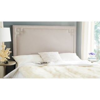 Safavieh Remington Taupe Linen Upholstered Greek Key Headboard (King)