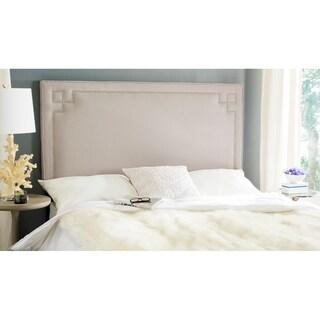 Safavieh Remington Taupe Linen Upholstered Greek Key Headboard (King)