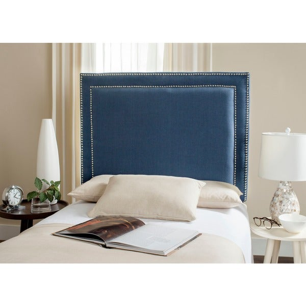 Shop Safavieh Cory Navy Upholstered Headboard Silver