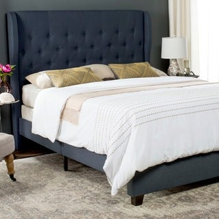 Safavieh Blanchett Navy Linen Upholstered Tufted Wingback Bed (Queen)