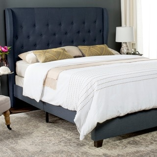 Safavieh Blanchett Navy Linen Upholstered Tufted Wingback Bed (Full)