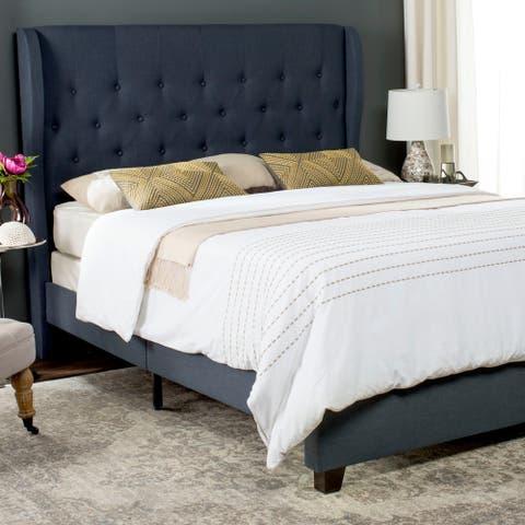Safavieh Blanchett Navy Linen Upholstered Tufted Wingback Bed (Full)