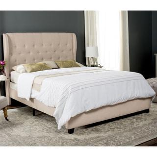 Safavieh Blanchett Light Beige Linen Upholstered Tufted Wingback Bed (Full)