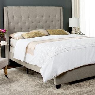 Safavieh Winslet Light Grey Linen Upholstered Tufted Wingback Bed (Full)