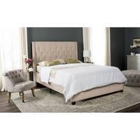 Safavieh Winslet Light Beige Linen Upholstered Tufted Wingback Bed (Full)