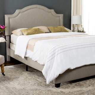 Safavieh Theron Light Grey Linen Upholstered Bed (Twin)