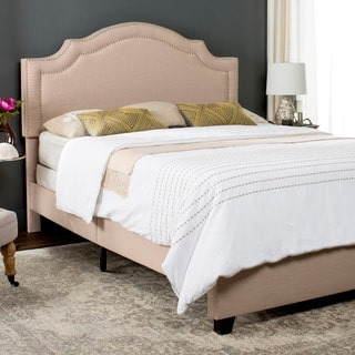 Safavieh Theron Light Beige Linen Upholstered Bed (Twin)