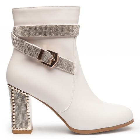 Ann Creek Womens Cody Rhinestone and Plated Heel Boots