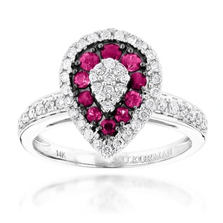 Luxurman 14k White Gold 1ct TDW Diamond and Ruby Drop Design Ring (G-H. VS-SI)