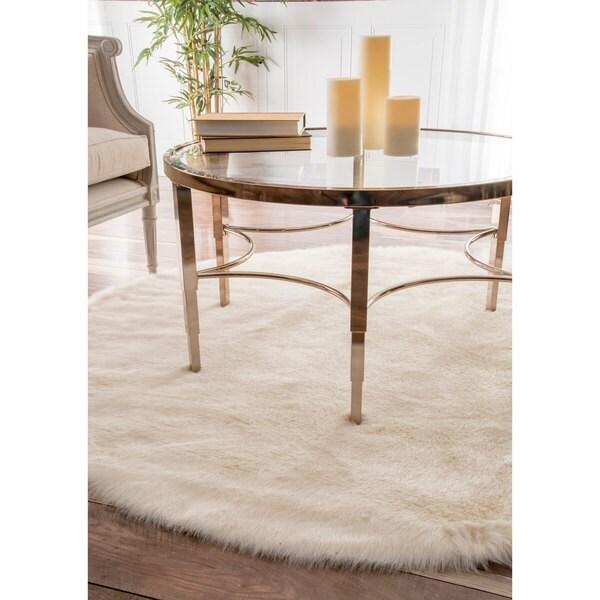 NuLOOM Cozy Soft And Plush Faux Sheepskin Shag White Rug