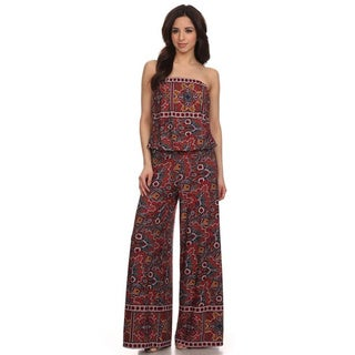 MOA Collection Women's Strapless Abstract Jumpsuit