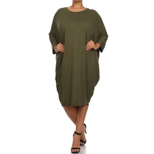 Shop MOA Collection Women\'s Plus Size Draped Dress - Free ...