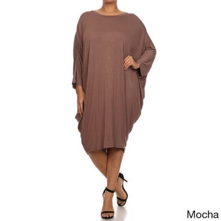 MOA Collection Women's Plus Size Draped Dress (3 options available)