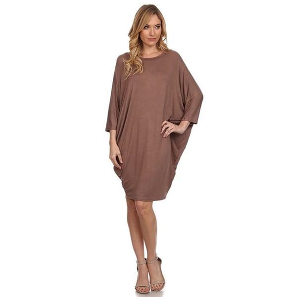 MOA Collection Women's Solid Draped Midi Dress