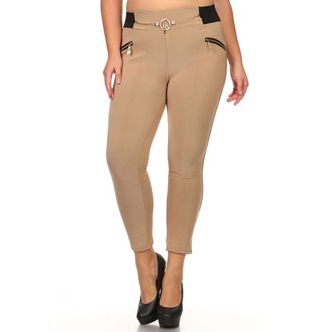 Women's Plus Size Zipper Accented Leggings
