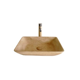 Galala Stone Vessel Sink Bowl with Matching Faucet and Drain