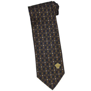 Versace 100-percent Italian Silk Yellow Diamond Neck Tie