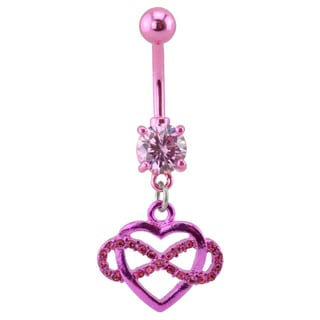 Supreme Jewelry Pink Heart Infinity Belly Ring
