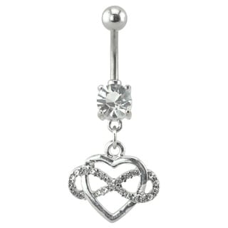 Supreme Jewelry 14G Silver Dangling Heart and Infinity Belly Ring