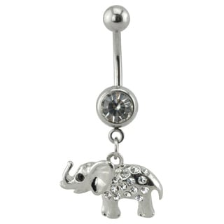 Supreme Jewelry Elephant Belly Ring with Cubic Zirconia Stone