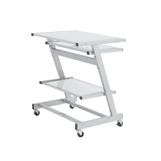 Z Aluminum/ Frosted Glass Computer Cart