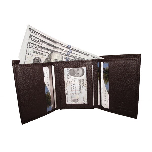 shop continental leather men s trifold wallet with inside window id