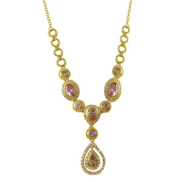 Luxiro Gold Finish Sterling Silver Multi-color Cubic Zirconia Floating Teardrop Statement Necklace