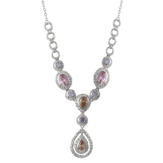 Luxiro Sterling Silver Multi-color Cubic Zirconia Floating Teardrop Statement Necklace