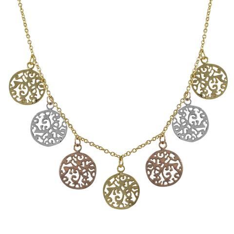 Luxiro Tri-color Gold Finish Filigree Circles Medallion Necklace - Silver