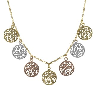 Luxiro Tri-color Gold Finish Filigree Circles Medallion Necklace