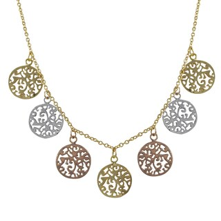 Luxiro Tri-color Gold Finish Filigree Circles Medallion Necklace - Silver