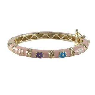Gold Finish Children's Pink and Multi Enamel Flower Bangle Bracelet