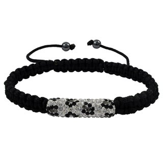 Luxiro Black and White Crystals and Hematite Macrame Cord Adjustable Bracelet