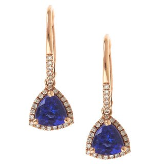 Anika and August 14 Rose Gold Trillion-cut Tanzanite and 1/4ct TDW Diamond Earrings (G-H, I1-I2)