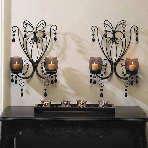 Romantic Elegant Glowing Candle Wall Sconces (Set of 2)