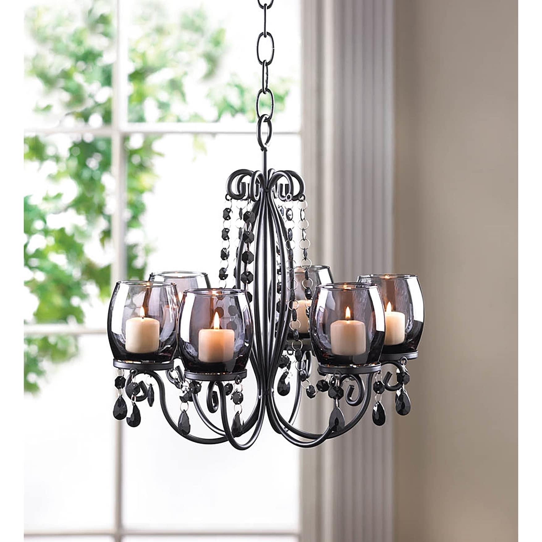 Romantic Elegant Glowing Candle Chandelier, Black (Acrylic)