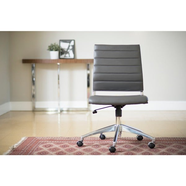 Axel Grey/ Aluminum Low Back Armless Office Chair