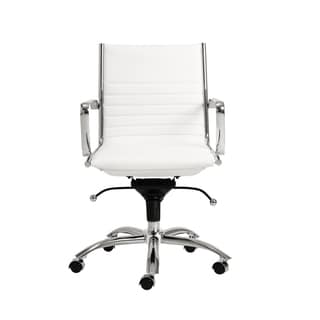 Dirk White/ Chrome Low Back Office Chair