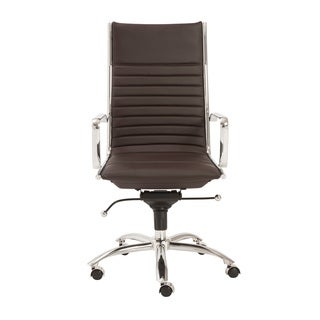 Sleek High Back Brown Ribbed Leather Executive Adjustable
