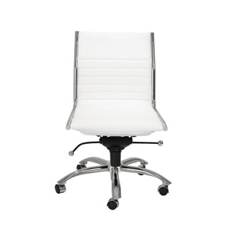 Dirk White/ Chrome Low Back Armless Office Chair