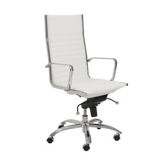 Dirk White/ Chrome High Back Office Chair