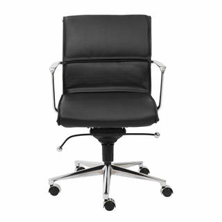 Leif Black Leatherette/ Chrome Low Back Office Chair