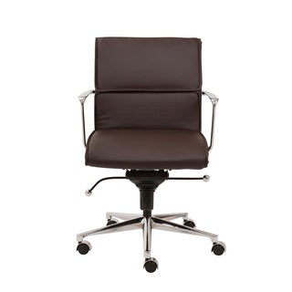 Leif Brown Leatherette/ Chrome Low Back Office Chair